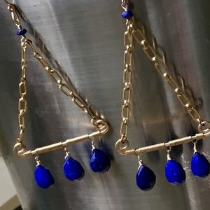 Jewelry - 🌲Lapis and 14k Gold Dangle Earrings